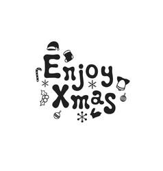 enjoy xmas christmas calligraphy phrase vector image