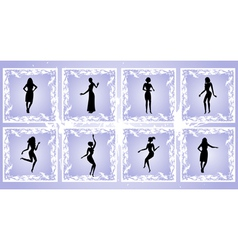 Female silhouettes on grunge background vector image