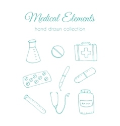 Hand drawn medical Doodle healthcare vector image vector image