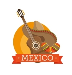 icons music guitar maracas mexico design vector image vector image