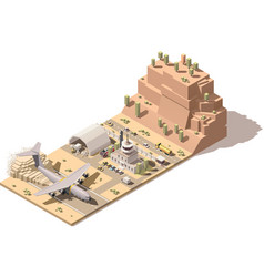 Isometric low poly desert airport terminal vector