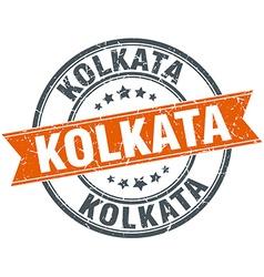 Kolkata red round grunge vintage ribbon stamp vector