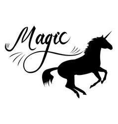 magic phrase on unicorn vector image vector image