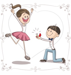 Marriage Proposal Cartoon vector image vector image