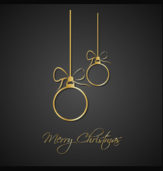 modern simple golden christmas balls with bow vector image