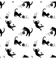 Monochrome seamless pattern with playing cats vector image