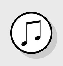 Music sign flat black icon vector