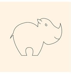 One line cute rhinoceros vector