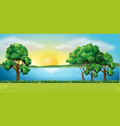 Park scene at sunset vector