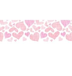 Pink textile hearts horizontal border seamless vector