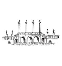 Pons aelius river tyne vintage engraving vector