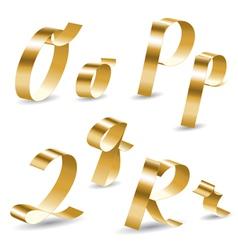 Ribbon alphabet o p q r vector