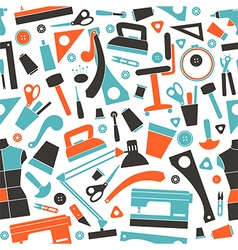 Seamless pattern with image sewing and hobby tools vector image