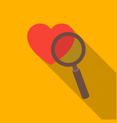Searching a love icon in flat style isolated on vector