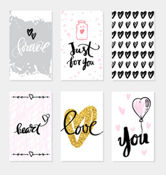 set wedding cards calligraphy for design vector image vector image