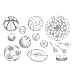 Sketched balls hockey puck and darts items vector