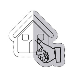 Sticker monochrome contour house with hand thumb vector