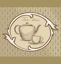 Tea cup pot kettle retro card tea time vintage vector