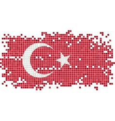 Turkish grunge tile flag vector image