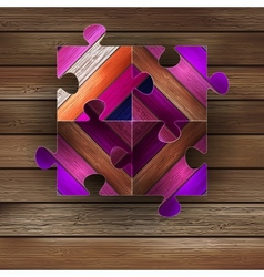 Wooden color puzzle background EPS8 vector image vector image