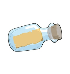 Message in bottle is empty glass transparent vector