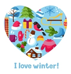I love winter merry christmas happy new year vector