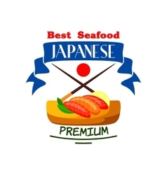 Japanese best premium seafood restaurant icon vector