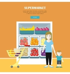Woman and Little Boy Make Shopping vector image