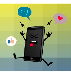 Happy cute smart phone character vector