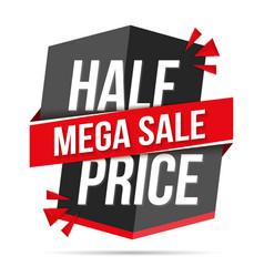 Half price mega sale banner vector