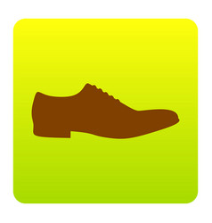 men shoes sign brown icon at green-yellow vector image