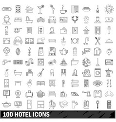 100 hotel icons set outline style vector