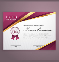 Modern certificate template design with golden vector