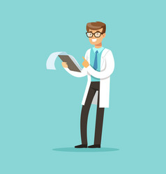 Smiling doctor character standing and reading vector