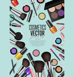 Professional fashion makeup realism banner vector