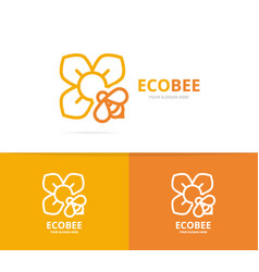 flower and bee logo combination unique vector image