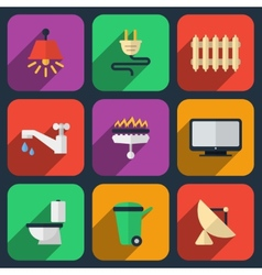 Utilities icons in flat style vector image