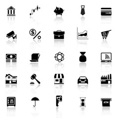 Banking and financial icons with reflect on white vector