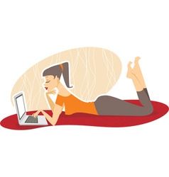 Woman with the laptop vector