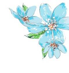Blue flowers background watercolor corner ornament vector