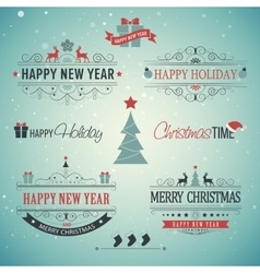 Christmas set labels emblems vector