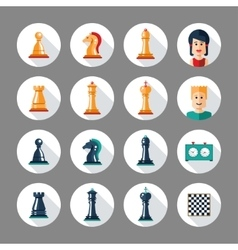 Set of flat design chess icons with players vector
