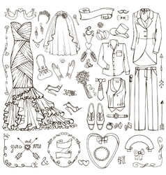 Wedding fashiondoodle bridegroom dresslinear vector