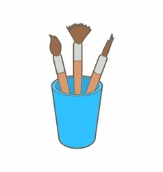 Brushes for painting in the holder icon vector