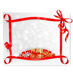 Holiday background red bows and red ribbons vector