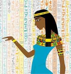 Ancient Egyptian woman over a background with vector image