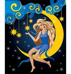 Beautiful blonde night elf vector