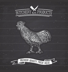 Butcher shop vintage emblem rooster meat products vector