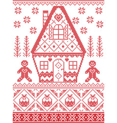 Christmas pattern with gingerbread house pudding vector