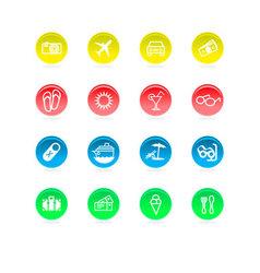 Circular travel icons vector